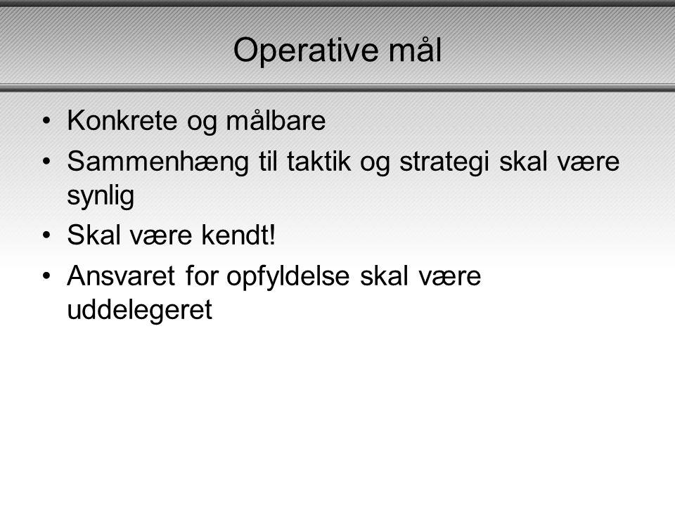 Operative mål •Konkrete og målbare •Sammenhæng til taktik og strategi skal være synlig •Skal være kendt.