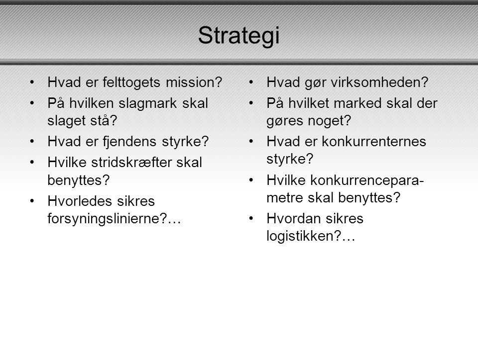 Strategi •Hvad er felttogets mission.•På hvilken slagmark skal slaget stå.