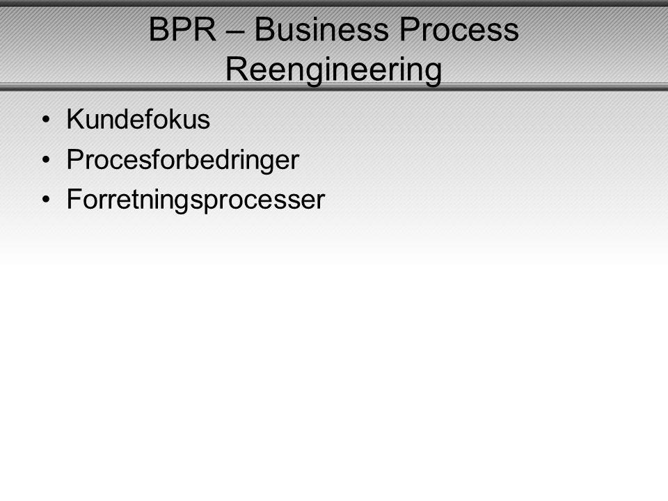 BPR – Business Process Reengineering •Kundefokus •Procesforbedringer •Forretningsprocesser