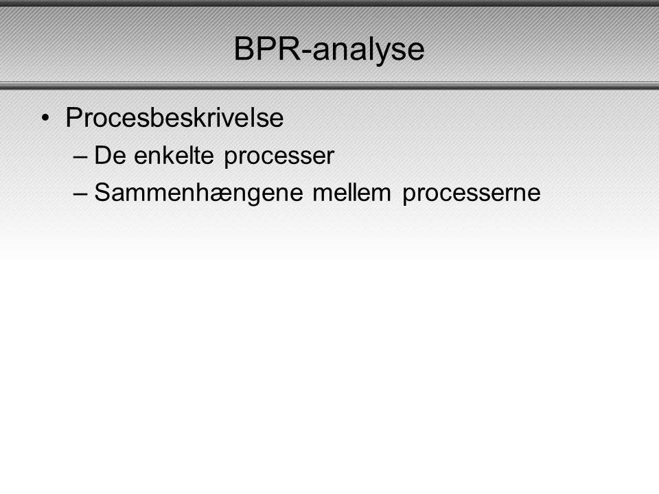 BPR-analyse •Procesbeskrivelse –De enkelte processer –Sammenhængene mellem processerne