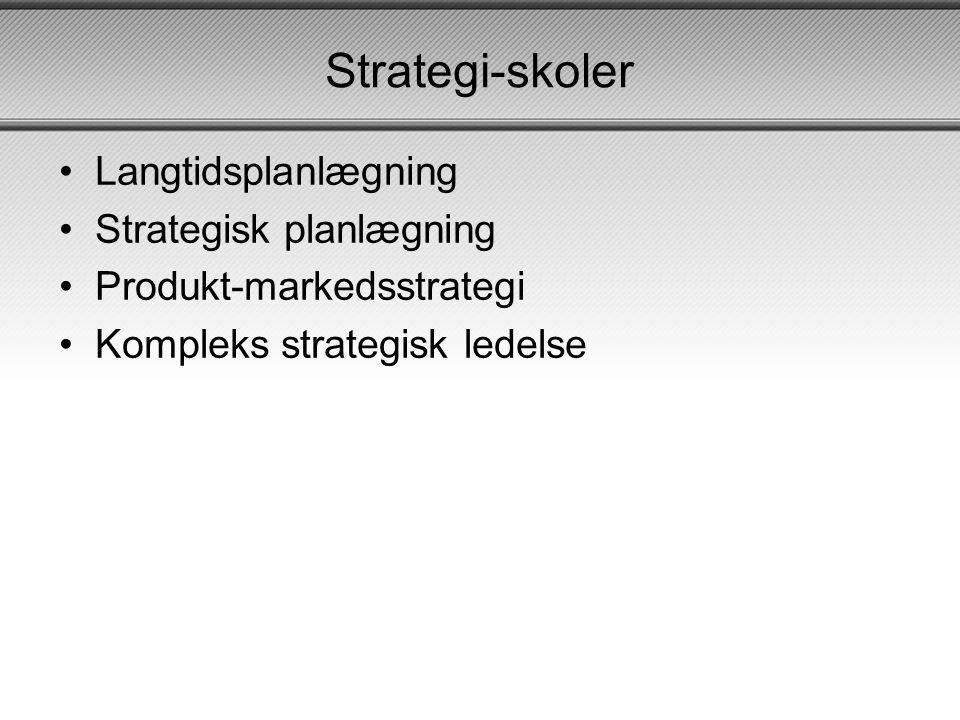 Langtidsplanlægning •Omgivelser: Stabilt, simpel og i vækst •Mål: Fordele økonomiske ressourcer •Indhold: Finansiel planlægning og profitmaksimering •Elementer: Budgetter og handleplaner