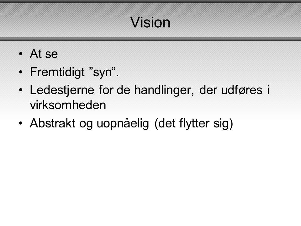 Vision •At se •Fremtidigt syn .