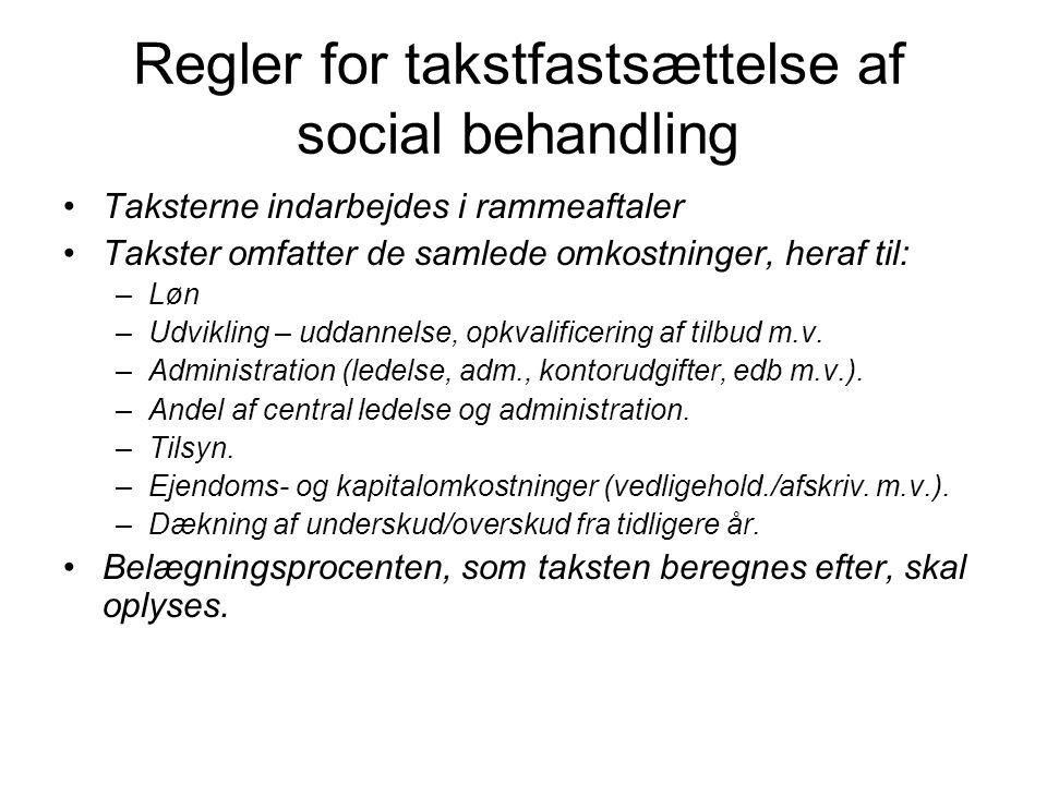 Regler for takstfastsættelse af social behandling •Taksterne indarbejdes i rammeaftaler •Takster omfatter de samlede omkostninger, heraf til: –Løn –Udvikling – uddannelse, opkvalificering af tilbud m.v.