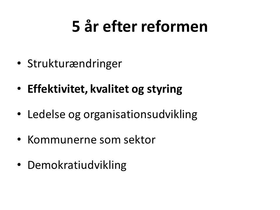 5 år efter reformen • Strukturændringer • Effektivitet, kvalitet og styring • Ledelse og organisationsudvikling • Kommunerne som sektor • Demokratiudvikling