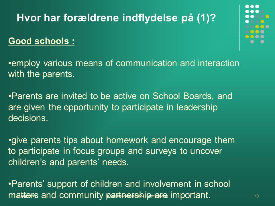 4. maj 2011Kontaktforældremøde: Støtte læring13 Hvor har forældrene indflydelse på (1).