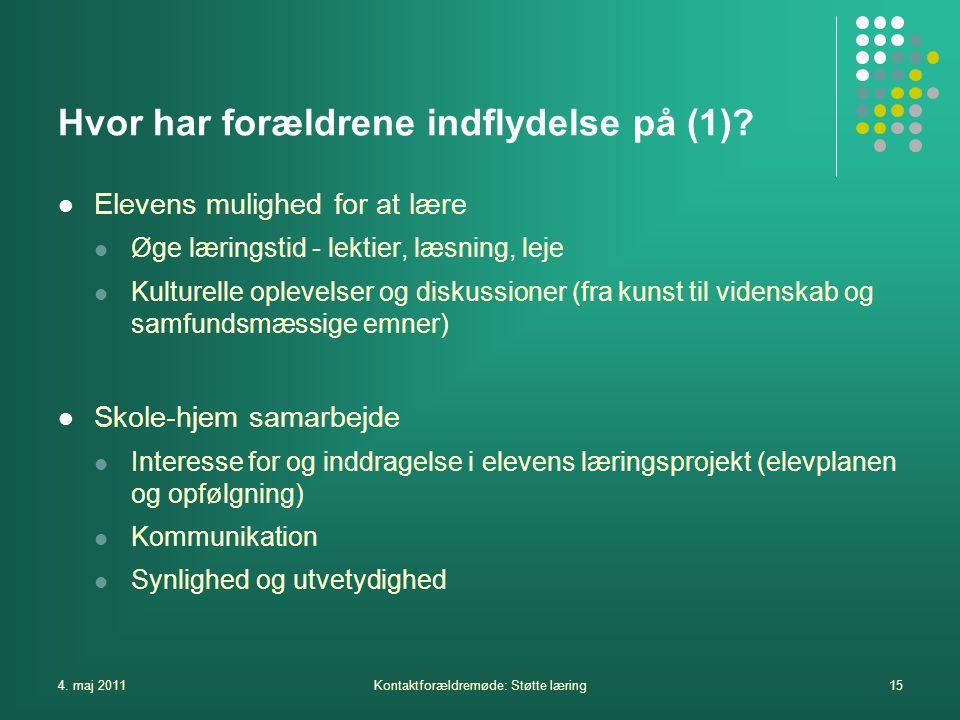 4. maj 2011Kontaktforældremøde: Støtte læring15 Hvor har forældrene indflydelse på (1).