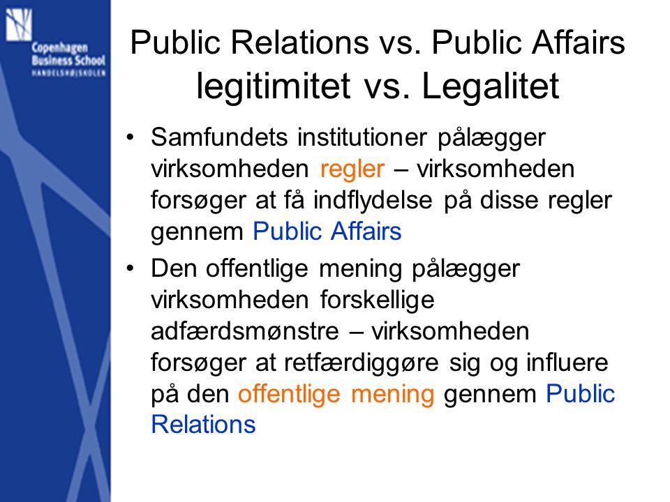 Public Relations vs. Public Affairs legitimitet vs.
