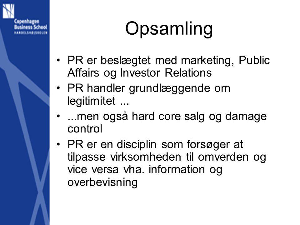 Opsamling •PR er beslægtet med marketing, Public Affairs og Investor Relations •PR handler grundlæggende om legitimitet...