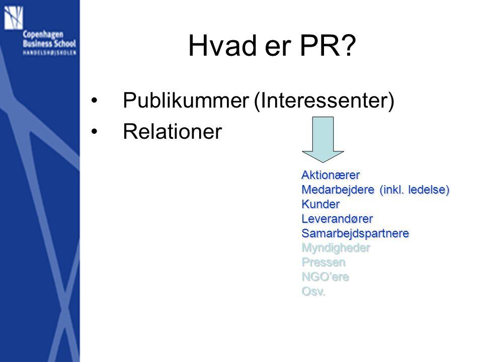 Hvad er PR. •Publikummer (Interessenter) •Relationer Aktionærer Medarbejdere (inkl.