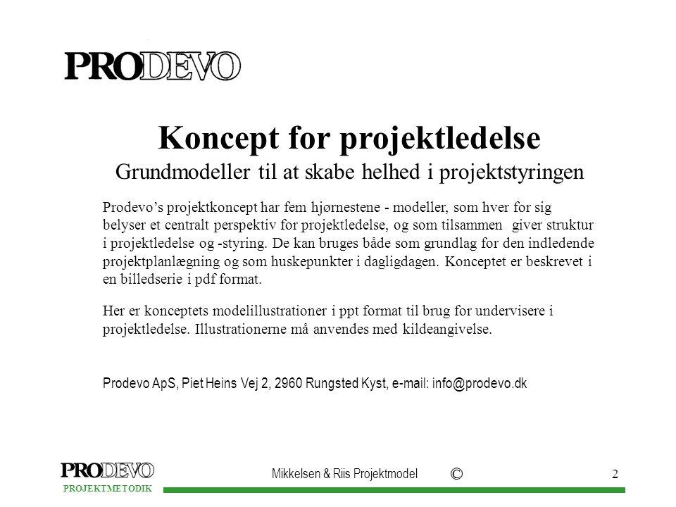 Mikkelsen & Riis Projektmodel C PROJEKTMETODIK 2 Koncept for projektledelse Grundmodeller til at skabe helhed i projektstyringen Prodevo's projektkoncept har fem hjørnestene - modeller, som hver for sig belyser et centralt perspektiv for projektledelse, og som tilsammen giver struktur i projektledelse og -styring.