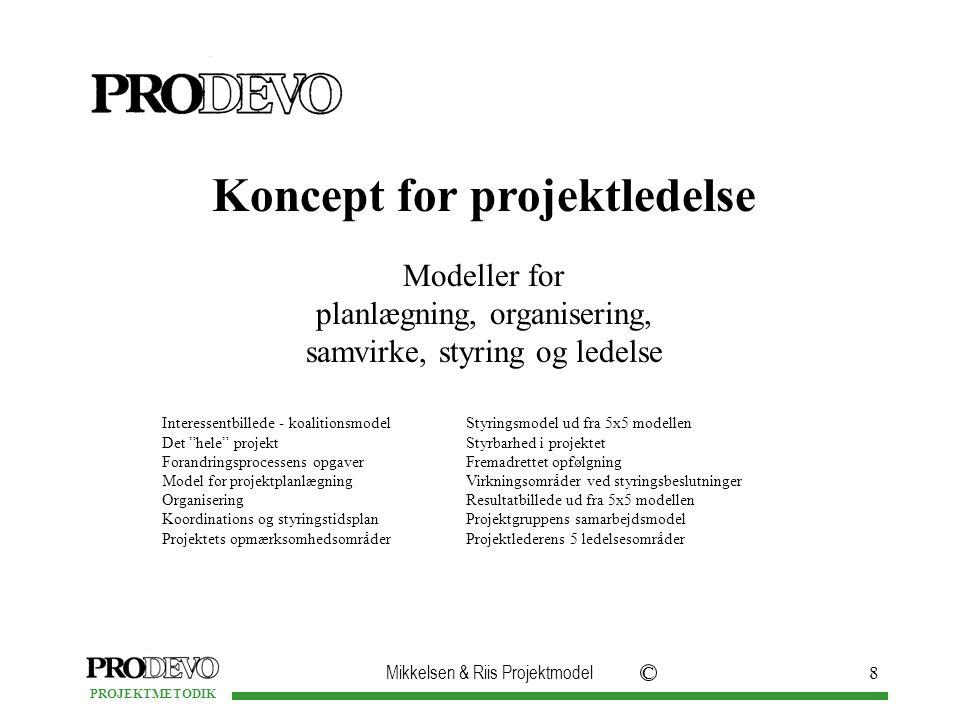 Mikkelsen & Riis Projektmodel C PROJEKTMETODIK 8 Koncept for projektledelse Modeller for planlægning, organisering, samvirke, styring og ledelse Interessentbillede - koalitionsmodel Det hele projekt Forandringsprocessens opgaver Model for projektplanlægning Organisering Koordinations og styringstidsplan Projektets opmærksomhedsområder Styringsmodel ud fra 5x5 modellen Styrbarhed i projektet Fremadrettet opfølgning Virkningsområder ved styringsbeslutninger Resultatbillede ud fra 5x5 modellen Projektgruppens samarbejdsmodel Projektlederens 5 ledelsesområder