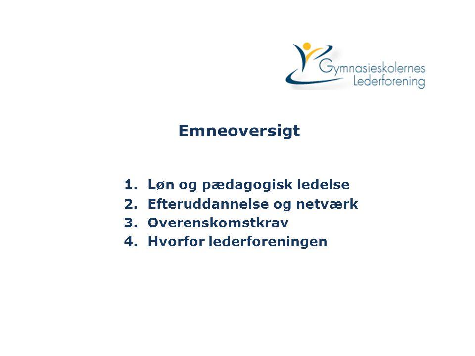 Emneoversigt 1.Løn og pædagogisk ledelse 2.Efteruddannelse og netværk 3.Overenskomstkrav 4.Hvorfor lederforeningen
