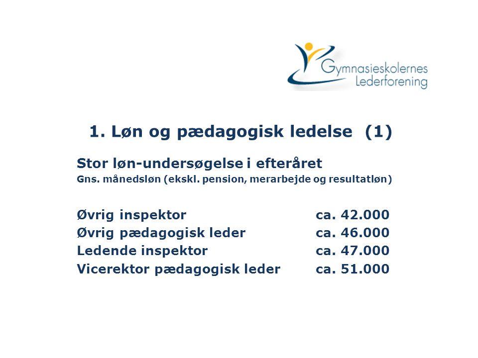 1. Løn og pædagogisk ledelse (1) Stor løn-undersøgelse i efteråret Gns.