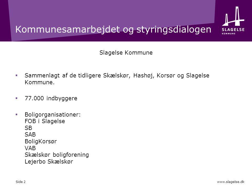 www.slagelse.dk Kommunesamarbejdet og styringsdialogen Slagelse Kommune  Sammenlagt af de tidligere Skælskør, Hashøj, Korsør og Slagelse Kommune.