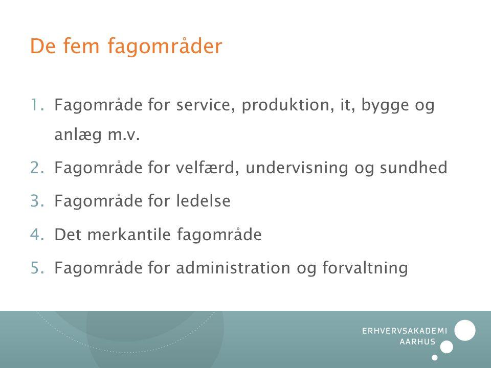 De fem fagområder 1.Fagområde for service, produktion, it, bygge og anlæg m.v.
