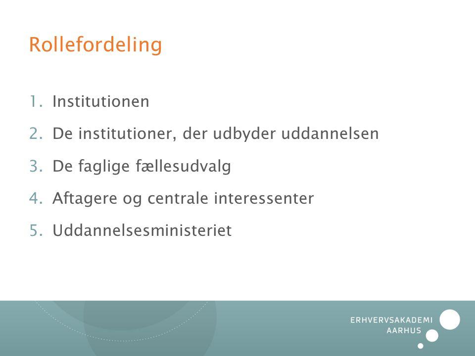 Rollefordeling 1.Institutionen 2.De institutioner, der udbyder uddannelsen 3.De faglige fællesudvalg 4.Aftagere og centrale interessenter 5.Uddannelsesministeriet