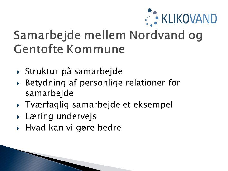  Struktur på samarbejde  Betydning af personlige relationer for samarbejde  Tværfaglig samarbejde et eksempel  Læring undervejs  Hvad kan vi gøre bedre Samarbejde mellem Nordvand og Gentofte Kommune