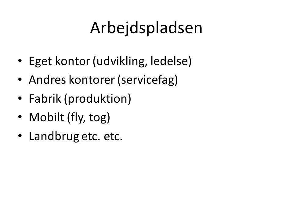 Arbejdspladsen • Eget kontor (udvikling, ledelse) • Andres kontorer (servicefag) • Fabrik (produktion) • Mobilt (fly, tog) • Landbrug etc.