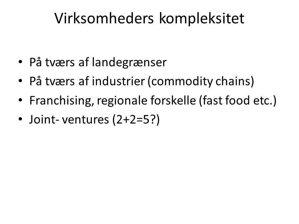 Virksomheders kompleksitet • På tværs af landegrænser • På tværs af industrier (commodity chains) • Franchising, regionale forskelle (fast food etc.) • Joint- ventures (2+2=5 )