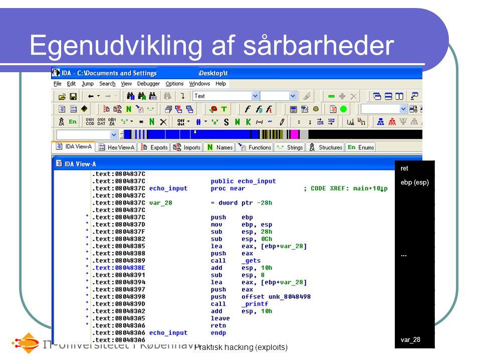 Praktisk hacking (exploits) Egenudvikling af sårbarheder ret ebp (esp)... var_28