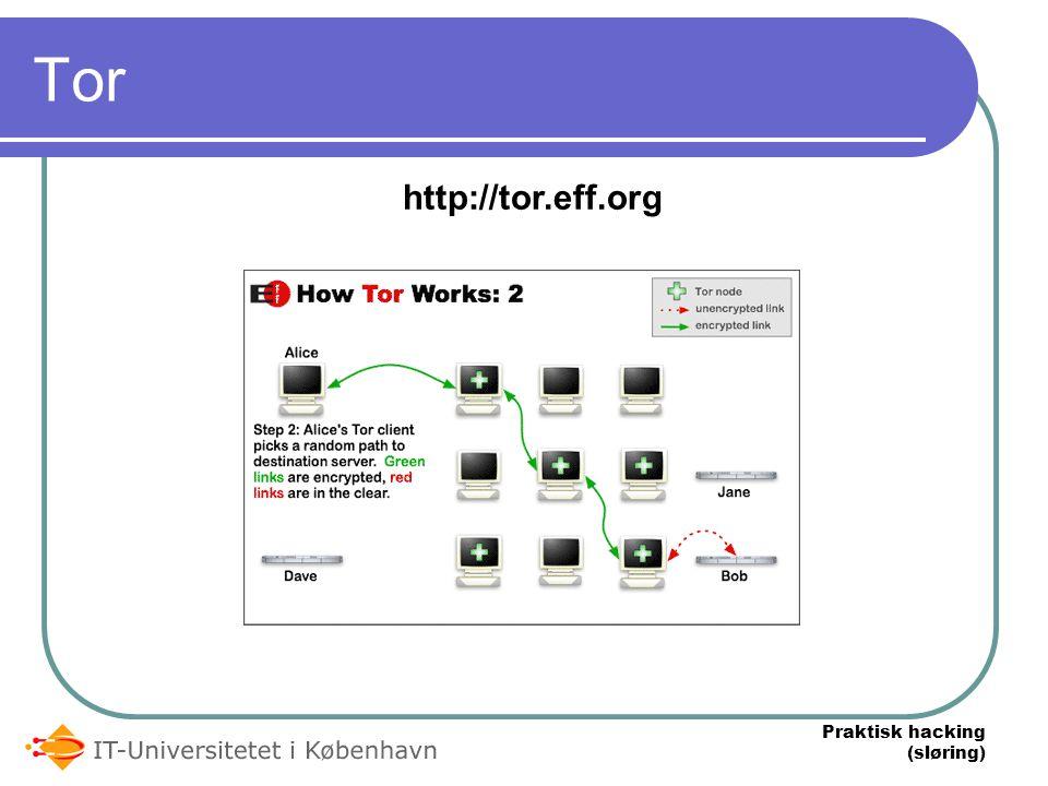Praktisk hacking (sløring) Tor http://tor.eff.org