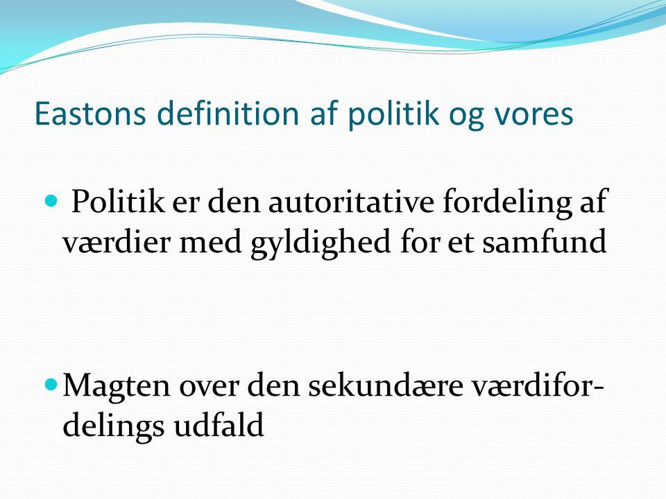 Eastons definition af politik og vores  Politik er den autoritative fordeling af værdier med gyldighed for et samfund  Magten over den sekundære værdifor- delings udfald