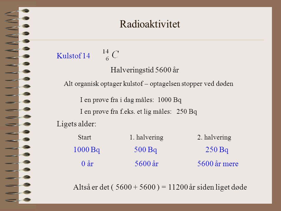 Radioaktivitet Kulstof 14 Halveringstid 5600 år Alt organisk optager kulstof – optagelsen stopper ved døden I en prøve fra i dag måles: 1000 Bq I en prøve fra f.eks.