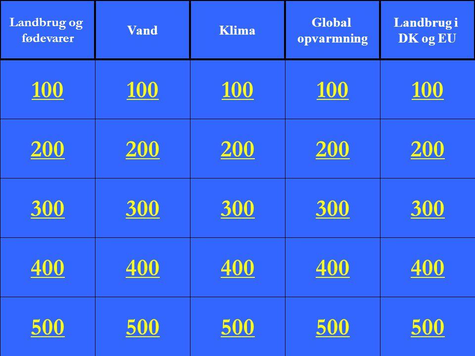 200 300 400 500 100 200 300 400 500 100 200 300 400 500 100 200 300 400 500 100 200 300 400 500 100 Landbrug og fødevarer VandKlima Global opvarmning