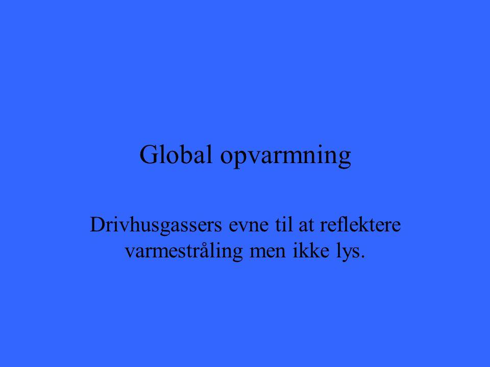 Global opvarmning Drivhusgassers evne til at reflektere varmestråling men ikke lys.