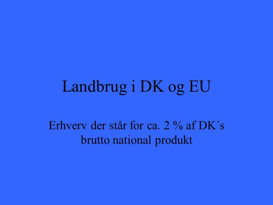 Landbrug i DK og EU Erhverv der står for ca. 2 % af DK´s brutto national produkt