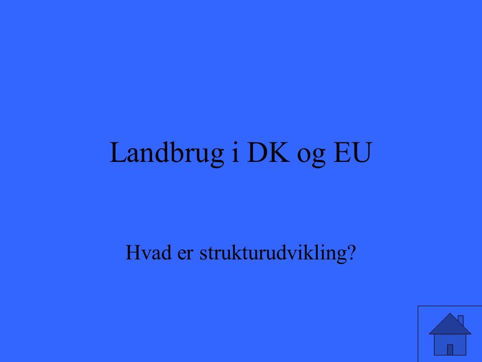 Landbrug i DK og EU Hvad er strukturudvikling?