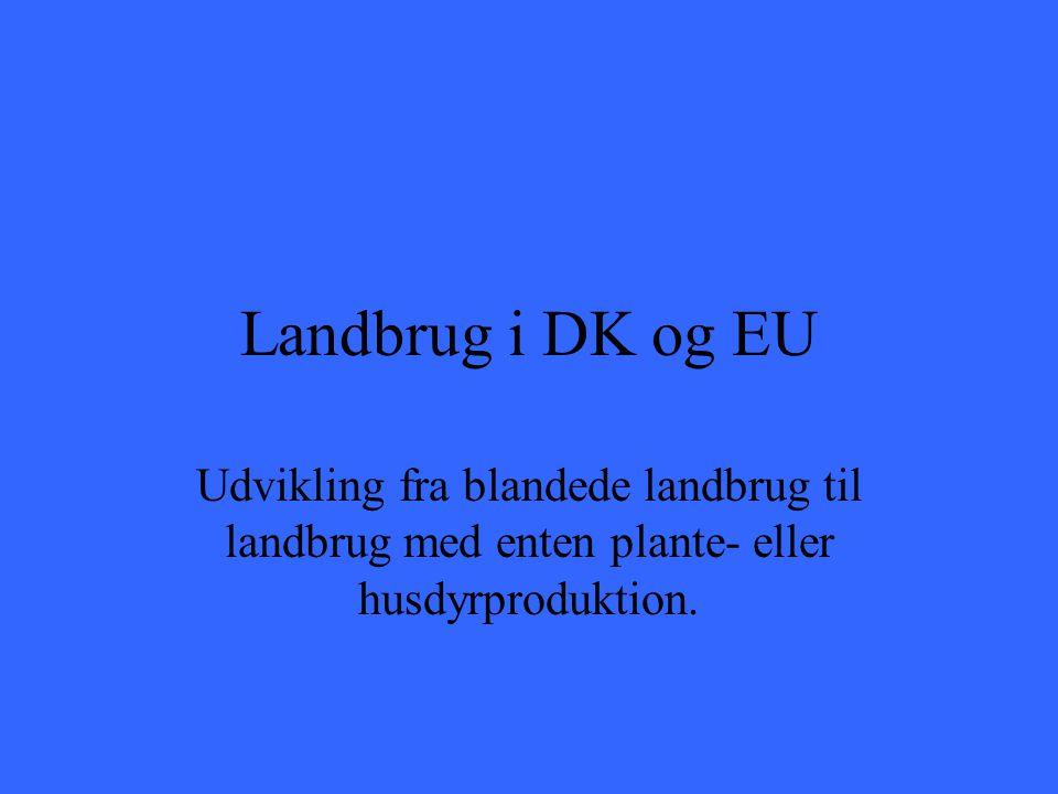 Landbrug i DK og EU Udvikling fra blandede landbrug til landbrug med enten plante- eller husdyrproduktion.