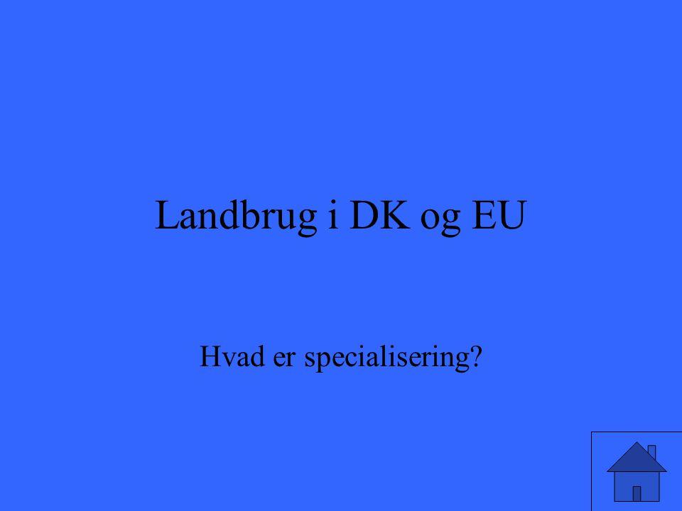 Landbrug i DK og EU Hvad er specialisering?