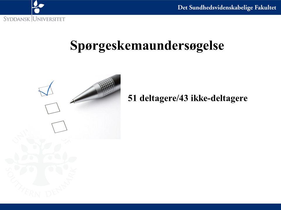 Spørgeskemaundersøgelse 51 deltagere/43 ikke-deltagere