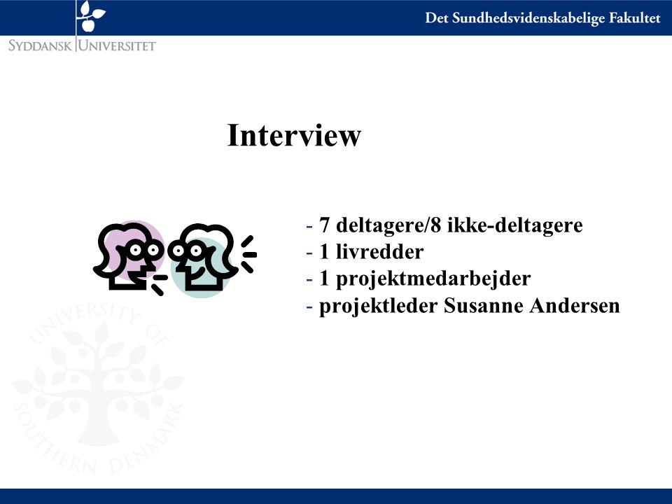 Interview - 7 deltagere/8 ikke-deltagere - 1 livredder - 1 projektmedarbejder - projektleder Susanne Andersen