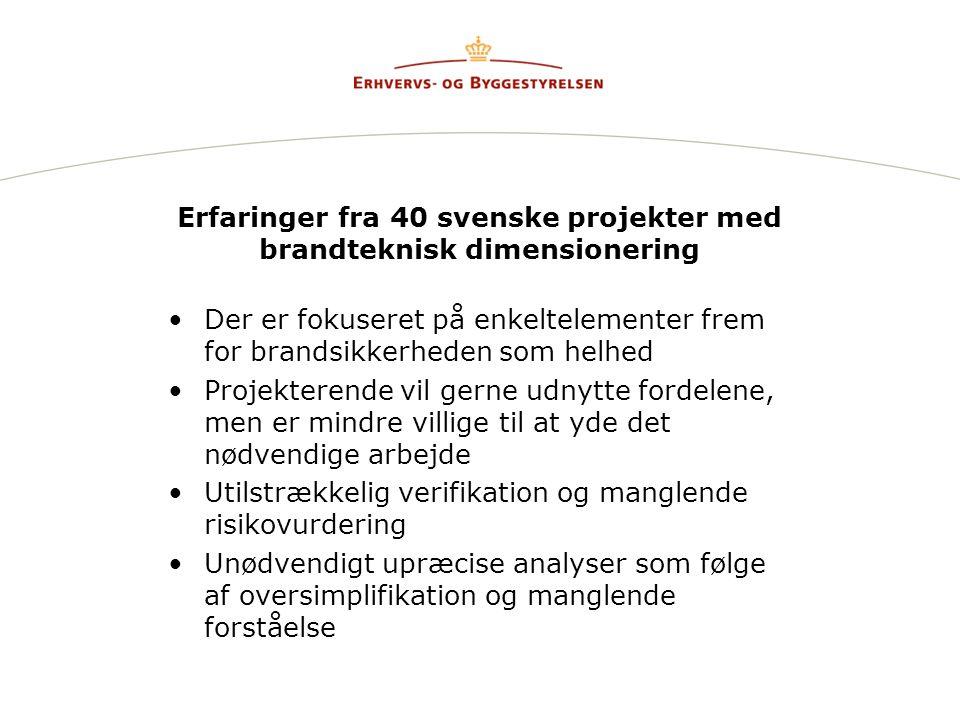 Erfaringer fra 40 svenske projekter med brandteknisk dimensionering •Der er fokuseret på enkeltelementer frem for brandsikkerheden som helhed •Projekterende vil gerne udnytte fordelene, men er mindre villige til at yde det nødvendige arbejde •Utilstrækkelig verifikation og manglende risikovurdering •Unødvendigt upræcise analyser som følge af oversimplifikation og manglende forståelse