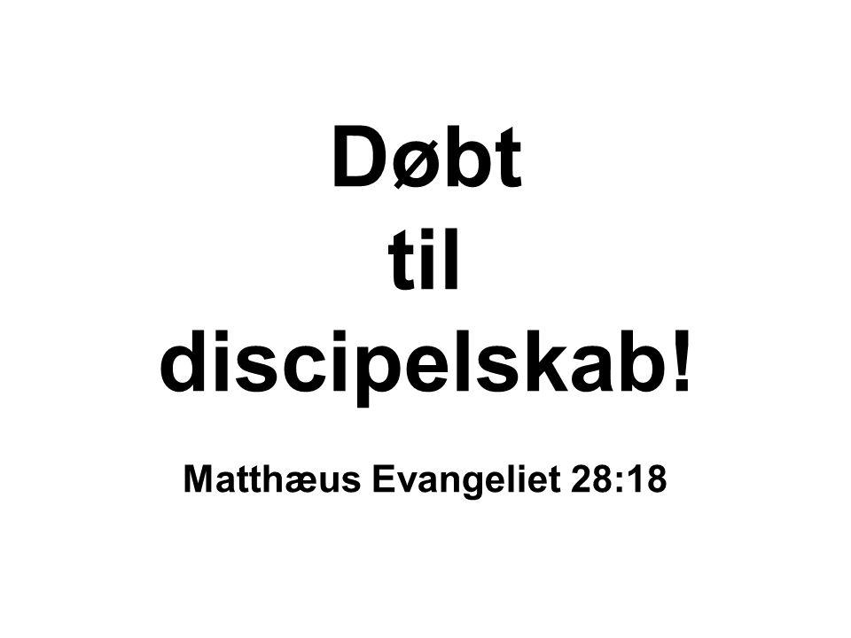 Døbt til discipelskab! Matthæus Evangeliet 28:18