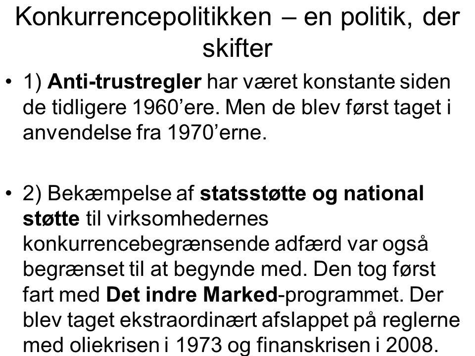 Konkurrencepolitikken – en politik, der skifter •1) Anti-trustregler har været konstante siden de tidligere 1960'ere.