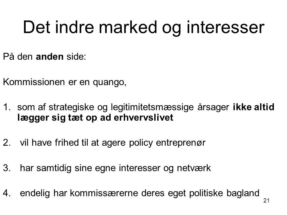 Det indre marked og interesser På den anden side: Kommissionen er en quango, 1.som af strategiske og legitimitetsmæssige årsager ikke altid lægger sig tæt op ad erhvervslivet 2.