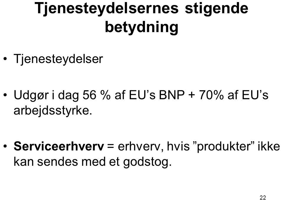 Tjenesteydelsernes stigende betydning •Tjenesteydelser •Udgør i dag 56 % af EU's BNP + 70% af EU's arbejdsstyrke.