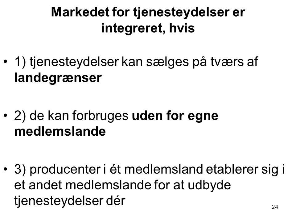 Markedet for tjenesteydelser er integreret, hvis •1) tjenesteydelser kan sælges på tværs af landegrænser •2) de kan forbruges uden for egne medlemslande •3) producenter i ét medlemsland etablerer sig i et andet medlemslande for at udbyde tjenesteydelser dér 24