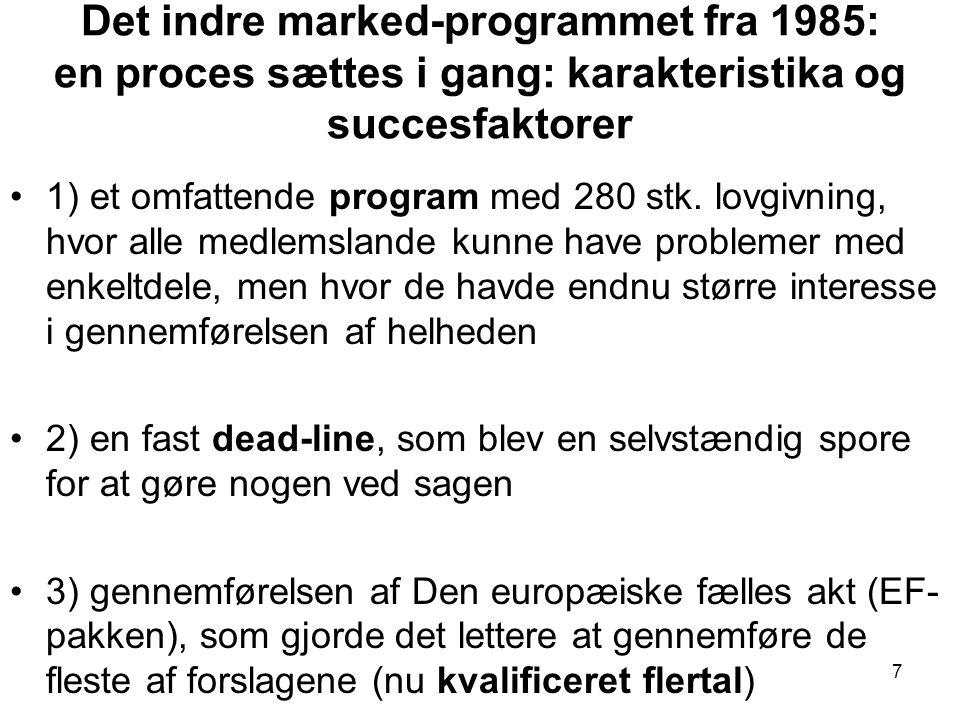 Det indre marked-programmet fra 1985: en proces sættes i gang: karakteristika og succesfaktorer •1) et omfattende program med 280 stk.