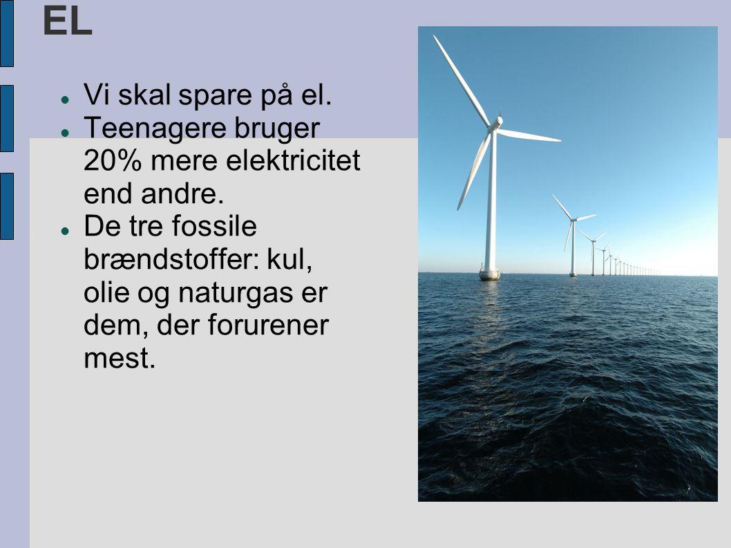 EL  Vi skal spare på el.  Teenagere bruger 20% mere elektricitet end andre.