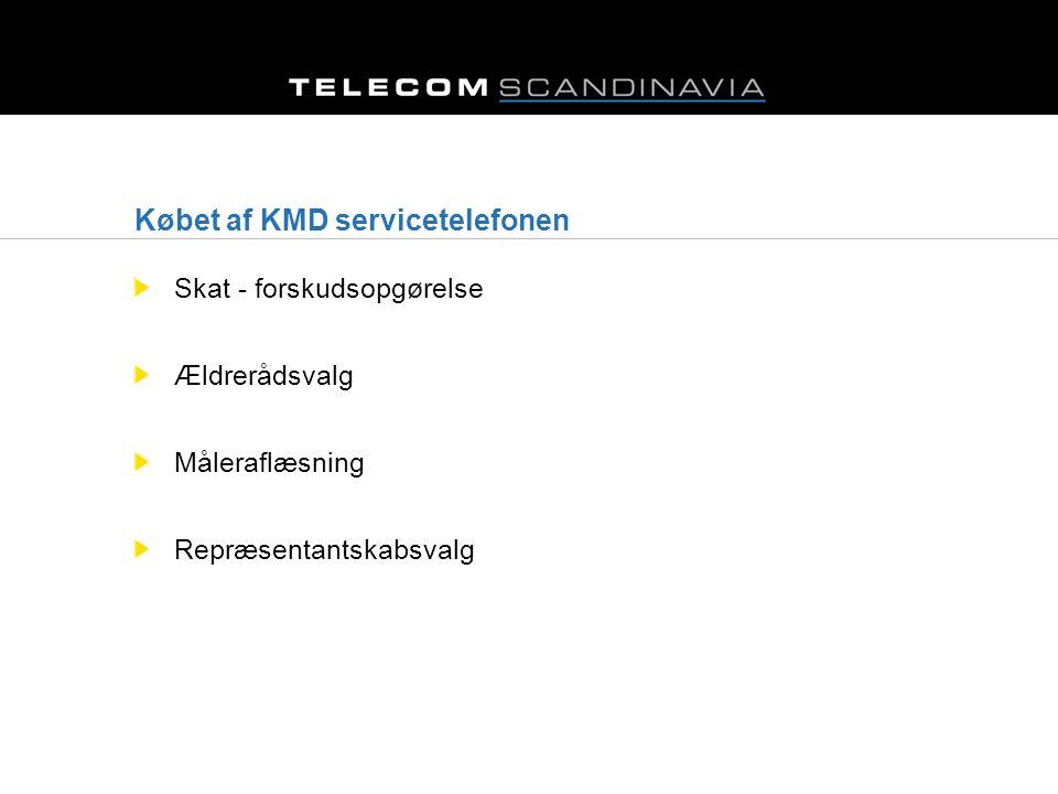 Købet af KMD servicetelefonen Skat - forskudsopgørelse Ældrerådsvalg Måleraflæsning Repræsentantskabsvalg