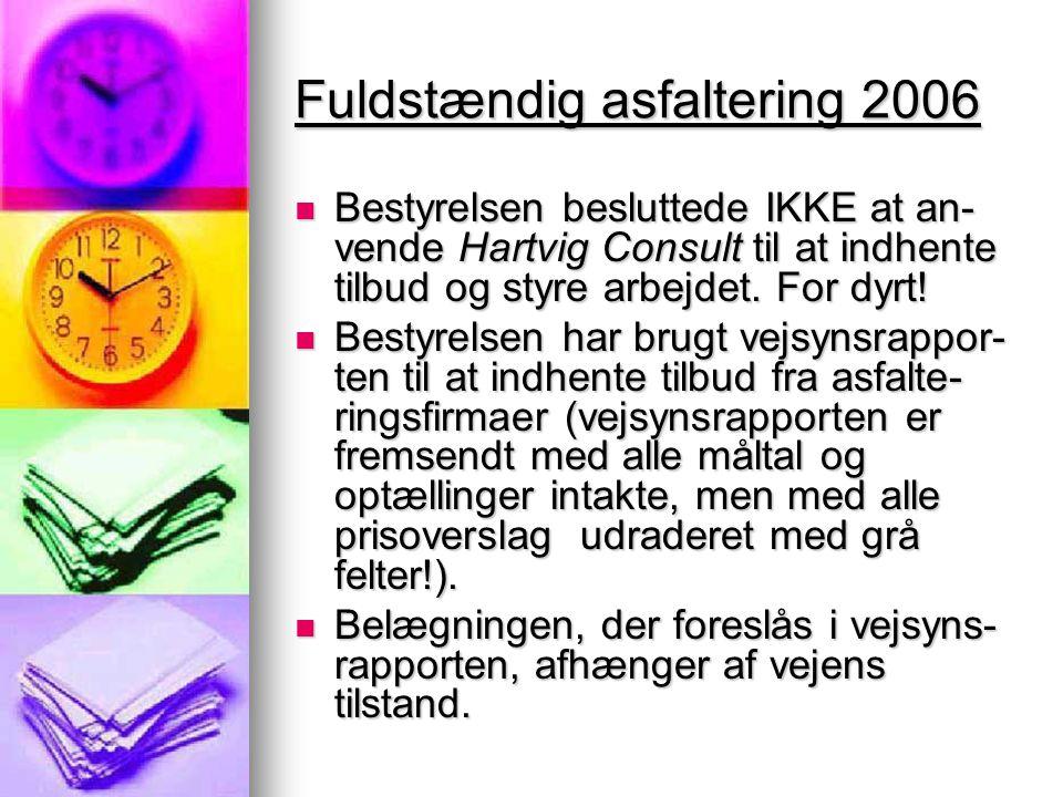 Fuldstændig asfaltering 2006  Bestyrelsen besluttede IKKE at an- vende Hartvig Consult til at indhente tilbud og styre arbejdet.