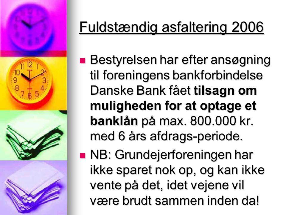Fuldstændig asfaltering 2006  Bestyrelsen har efter ansøgning til foreningens bankforbindelse Danske Bank fået tilsagn om muligheden for at optage et banklån på max.