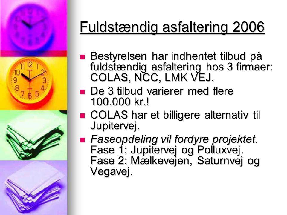 Fuldstændig asfaltering 2006  Bestyrelsen har indhentet tilbud på fuldstændig asfaltering hos 3 firmaer: COLAS, NCC, LMK VEJ.