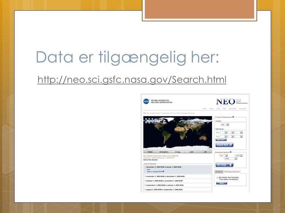Data er tilgængelig her: http://neo.sci.gsfc.nasa.gov/Search.html