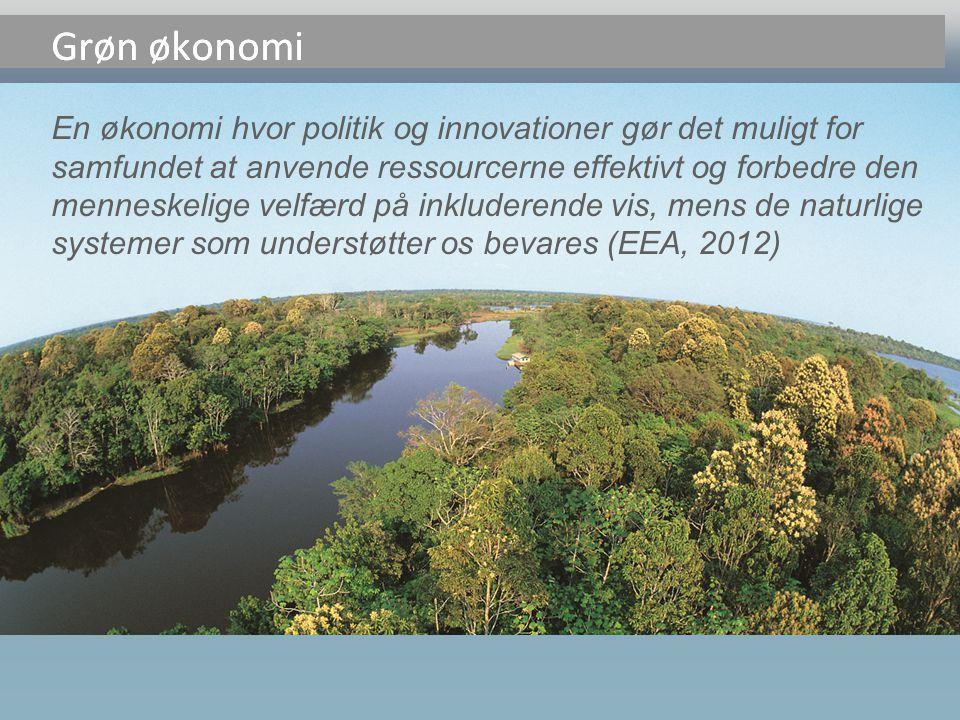 En økonomi hvor politik og innovationer gør det muligt for samfundet at anvende ressourcerne effektivt og forbedre den menneskelige velfærd på inkluderende vis, mens de naturlige systemer som understøtter os bevares (EEA, 2012) Grøn økonomi