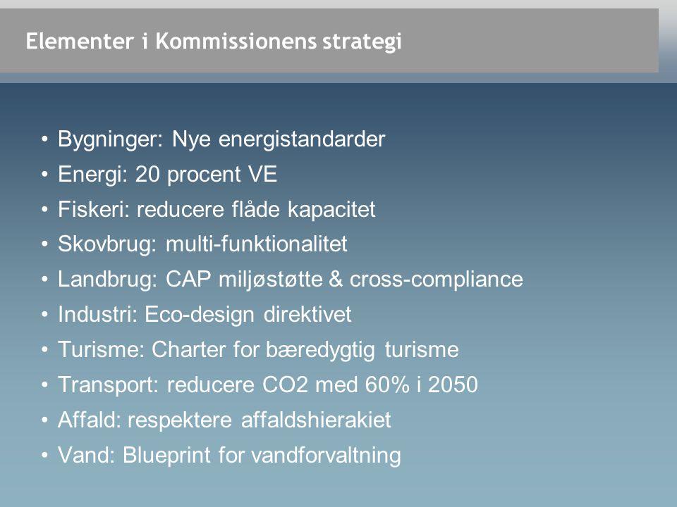 Elementer i Kommissionens strategi •Bygninger: Nye energistandarder •Energi: 20 procent VE •Fiskeri: reducere flåde kapacitet •Skovbrug: multi-funktionalitet •Landbrug: CAP miljøstøtte & cross-compliance •Industri: Eco-design direktivet •Turisme: Charter for bæredygtig turisme •Transport: reducere CO2 med 60% i 2050 •Affald: respektere affaldshierakiet •Vand: Blueprint for vandforvaltning